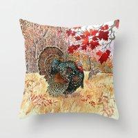 turkey Throw Pillows featuring Woodland Turkey by Edith Jackson-Designs