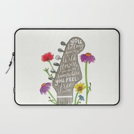 You belong among the wildflowers. Tom Petty quote. Watercolor guitar illustration. Hand lettering. Laptop Sleeve