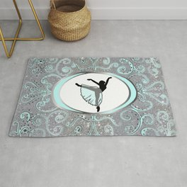 Dance Collection in Delicate Mint and Silver Glitter Design Rug