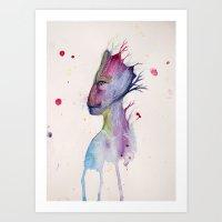 groot Art Prints featuring Groot by Kolbi Jane