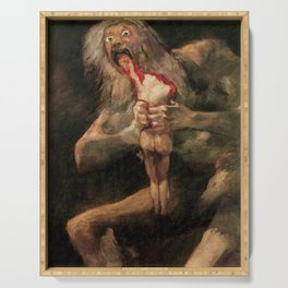 Saturn Devouring His Son Restored Painting Serving Tray