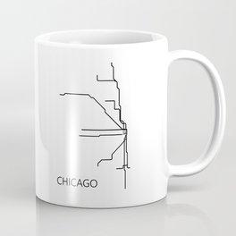 Chicago Metro Map - Black and White Art Print Coffee Mug