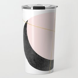 Pink Moon, Contemplation, Full Moon, Faux Gold Lines, Pink Black White Travel Mug