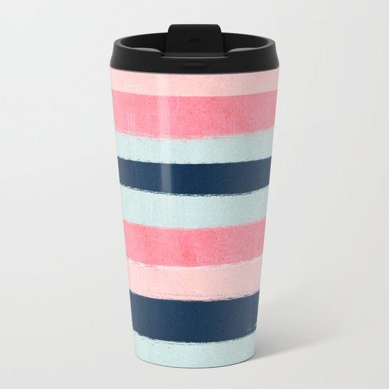 Striped painted coral mint navy pink pattern stripes minimalist Metal Travel Mug