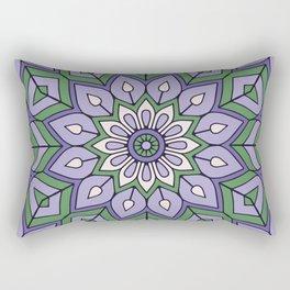 Lavender Green Mandala Flower Rectangular Pillow