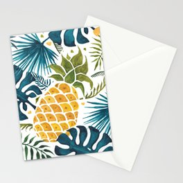 Golden pineapple on palm leaves foliage Stationery Cards