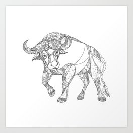 African Buffalo Charging Doodle Art Print