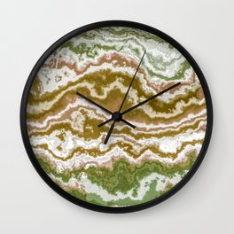 Green and toasted sienna marbling texture Wall Clock