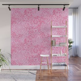 Christmas Pink Lace Doves and Flowers Wall Mural