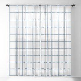 Grid Pattern White Classic Blue 0F4C81 Stripe Line Minimal Stripes Lines Spring Summer Sheer Curtain