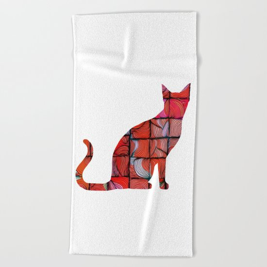 Quilted Cat Beach Towel