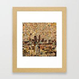 indianapolis city skyline orange Framed Art Print