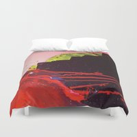 chihiro Duvet Covers featuring abstract painting red splash  by Chihiro Streetcat