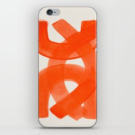 Mid Century Modern Abstract Painting Orange Watercolor Brush Strokes iPhone Skin