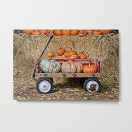 Wagon with Pumpkins Metal Print