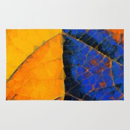 closeup leaf texture geometric triangle abstract pattern in blue orange yellow Rug