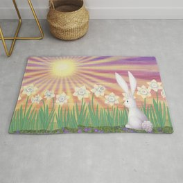 white rabbit in the daffodils Rug