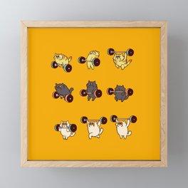 Olympic Lifting Cat Framed Mini Art Print