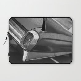 Tail Fin Close Up Photo, Classic Car, Black and White Laptop Sleeve