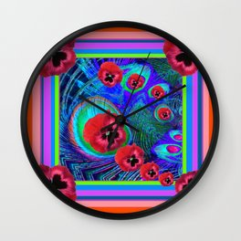 Red-Blue Purple Pansies Abstract Art Wall Clock