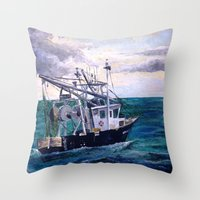 england Throw Pillows featuring New England by Samantha Crepeau