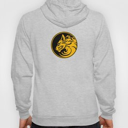 Yellow and Black Growling Wolf Disc Hoody