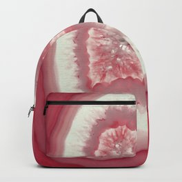 Bright Pink Agate Slice with Crystal Druzy Backpack