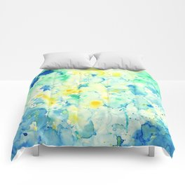Watercolor Abstract Landscape Green Comforters