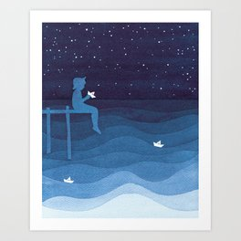 Boy with paper boats, blue Art Print