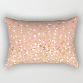 Floating Confetti - Peach and Gold Rectangular Pillow