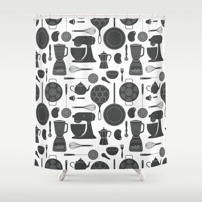 Kitchen Tools (black on white) Shower Curtain