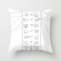 building Throw Pillows featuring building by STUPIDkid