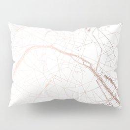 Paris France Minimal Street Map - Rose Gold Glitter Pillow Sham