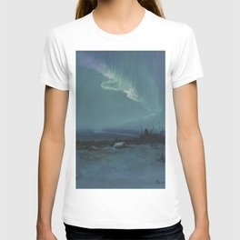Northern Lights - Aurora Borealis Winter Scene by Sydney Lawrence T-shirt