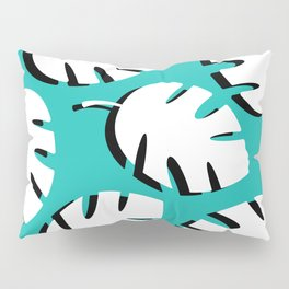 Black & White Fronds On Turquoise Pillow Sham