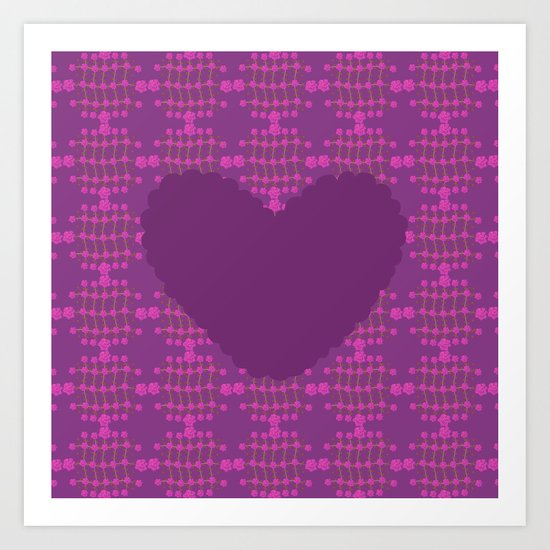 pattern with heart 2 Art Print