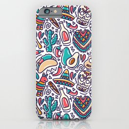 cinco de mayo mexican doodle seamless pattern iPhone Case