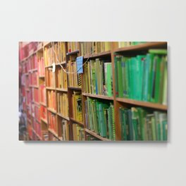 Rainbow bookshelf Metal Print