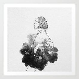 Night stories b&w. Art Print