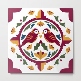 Festive Love Birds Holiday Hex Metal Print