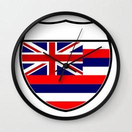 Hawaii Flag In An Interstate Sign Wall Clock
