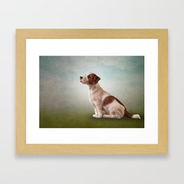 Jack Russell Terrier. Drawing, illustration funny dog Framed Art Print