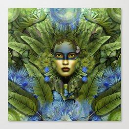 """Tropical green and indigo jungle Woman"" Canvas Print"