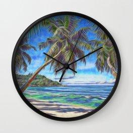 Tropical island beach Wall Clock