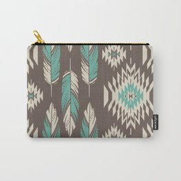 Native Roots - Turquoise & Brown Carry-All Pouch