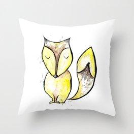 Watercolor sleepy fox Throw Pillow