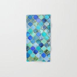 cobalt blue aqua u0026 gold decorative moroccan tile pattern hand u0026 bath towel