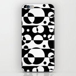 Black White Geometric Circle Abstract Modern Print iPhone Skin