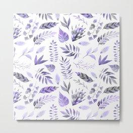 Modern hand painted purple violet watercolor leaves Metal Print
