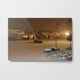 Coastal Winter Snow Storm Metal Print